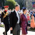 La princesse Anne et Sir Timothy Lawrence - Les invités arrivent à la chapelle St. George pour le mariage du prince Harry et de Meghan Markle au château de Windsor, Royaume Uni, le 19 mai 2018.