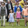 """La princesse Anne d'Angleterre et trois de ses petites filles, Mia Tindall, Isla Phillips et Savannah Phillips au """"Festival of British Eventing"""" à Gatcombe Park. Le 3 août 2019"""