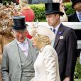 Le prince Charles, prince de Galles, le prince William, duc de Cambridge et Camilla Parker Bowles, duchesse de Cornouailles - La famille royale britannique et les souverains néerlandais lors de la première journée des courses d'Ascot 2019, à Ascot, Royaume Uni, le 18 juin 2019.