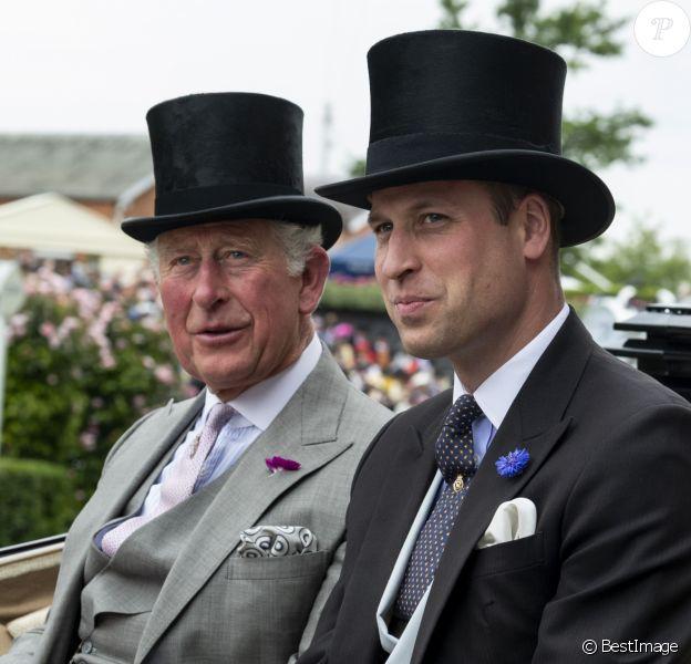 Le prince Charles, prince de Galles, Prince of Wales et le prince William, duc de Cambridge - La famille royale britannique et les souverains néerlandais lors de la première journée des courses d'Ascot 2019, à Ascot, Royaume Uni, le 18 juin 2019.
