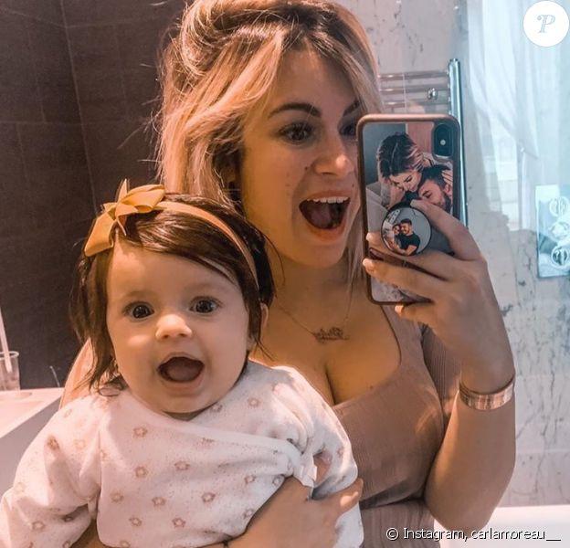 Carla Moreau avec sa fille Ruby le 9 mars 2020