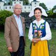 """Le roi Carl XVI Gustaf de Suède et la reine Silvia lors du festival """"World Music & Food Stenhammar"""" à Flen en Suède, le 1er septembre 2019."""