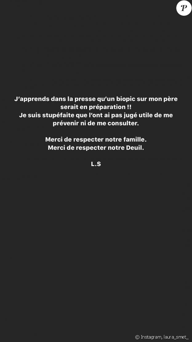 Laura Smet s'est exprimée sur Instagram le 12 mai 2020, afin de faire part de sa stupéfaction après avoir découvert qu'Olivier Marchal préparait un biopic sur son père, Johnny Hallyday.
