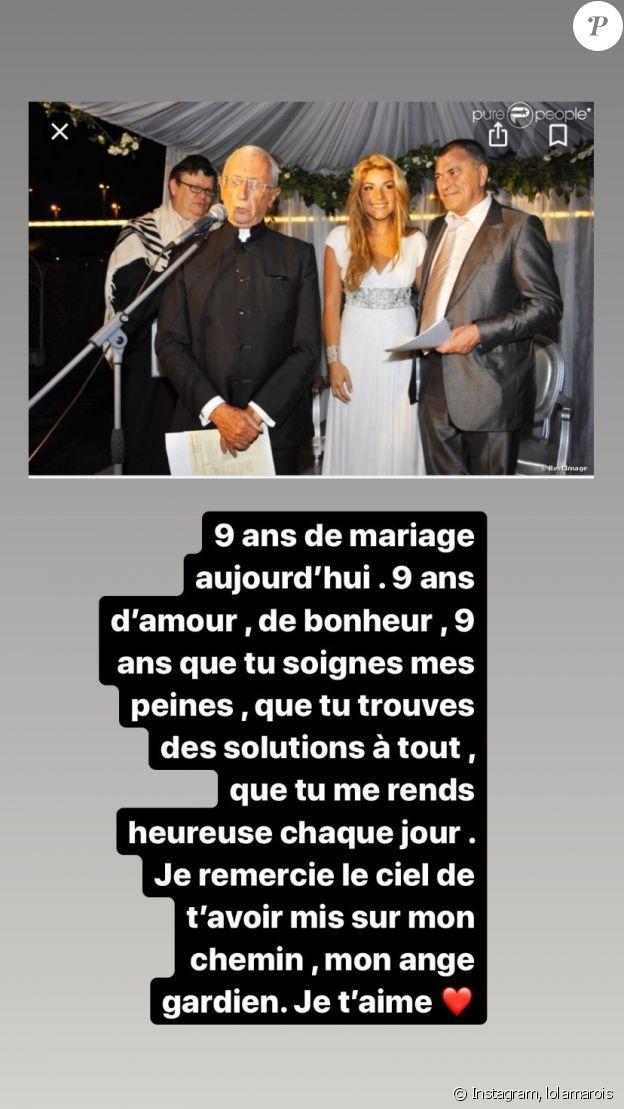 Lola Marois fête ses 9 ans de mariage avec Jean-Marie Bigard sur Instagram, le 28 mai 2020.