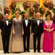 Le Prince Guillaume de Luxembourg, la reine Mathilde de Belgique, le Grand-duc Henri de Luxembourg, le roi Philippe de Belgique et la Grande duchesse Maria Teresa assistent assistent à un concert à Luxembourg le 16 octobre 2019.
