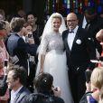 Mariage religieux de Pascal Obispo et Julie Hantson en l'église Notre-Dame-des-Flots au Cap-Ferret le 19 septembre 2015.