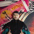 """Exclusif - Hakim Jemili - Les célébrités assistent à l'inauguration du restaurant Lounge """"Manzil"""" (Restaurant de viande en bas et sushis lounge à l'étage, et possibilité d'acheter les oeuvres exposées dans le restaurant), le nouveau lieu Hype et Arty aux abords du parc des princes (37 avenue du général Sarrail 75016) à Paris, le 18 juin 2020. © Jack Tribeca / Bestimage"""