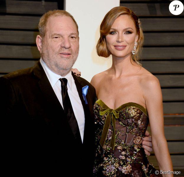 Harvey Weinstein (avec Georgina Chapman, son épouse à l'époque) à la soirée Vanity Fair en marge de la cérémonie des Oscar 2017 à Los Angeles le 26 février 2017.