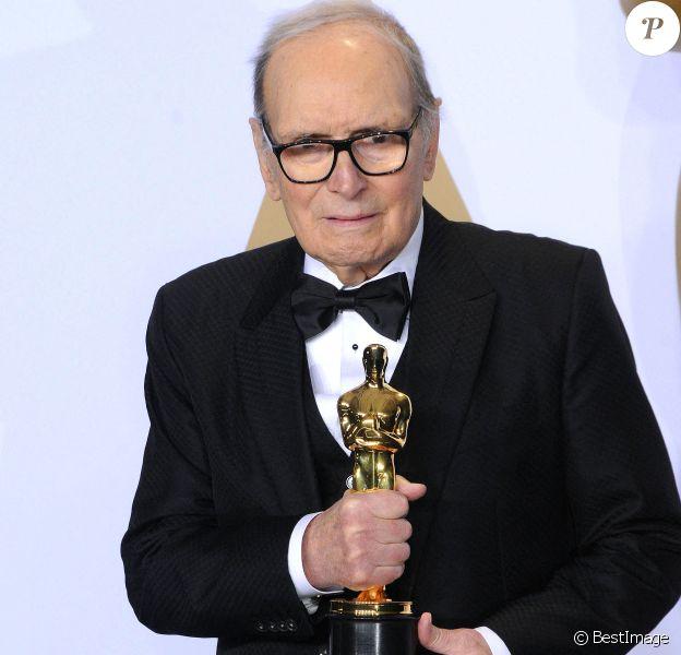 """Ennio Morricone (Oscar de la meilleure musique pour le film """"Les Huit Salopards"""") - Press Room lors de la 88ème cérémonie des Oscars à Hollywood, le 28 février 2016."""