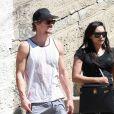 Exclusif - Naya Rivera, enceinte, et son mari Ryan Dorsey à la sortie d'un cours de gym à Los Angeles. Le 27 mars 2015