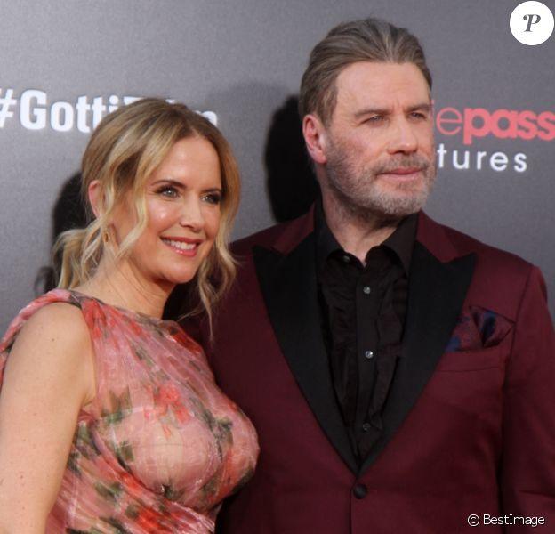 "Kelly Preston et son mari John Travolta - Première du film ""Gotti"" au SVA Theater à New York. Le 14 juin 2018."