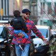 Justin Timberlake et sa femme Jessica Biel sont allés déjeuner avec leur fils Silas au restaurant Bubby dans le quartier de Downtown Manhattan à New York, le 23 février 2020.