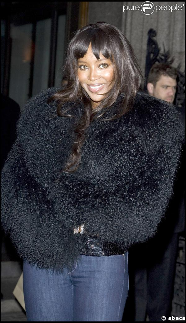 Naomi Campbell à la soirée Vanity Fair sponsorisée par Burberry, à Londres, le 11/02/08
