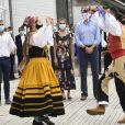 La reine Letizia et le roi Felipe VI d'Espagne étaient en visite en Cantabrie, dans le nord du pays, le 29 juillet 2020, avant-dernière étape de leur tournée des dix-sept communautés autonomes espagnoles dans le cadre du déconfinement.