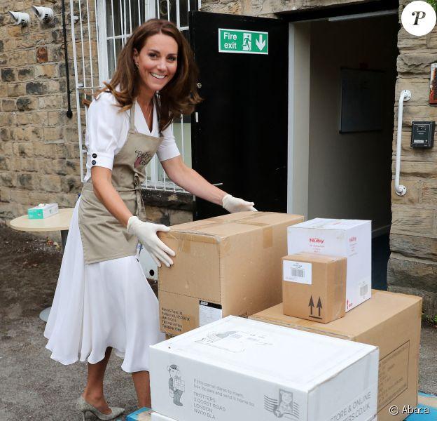Kate Middleton, duchesse de Cambridge, visite le site de la fondation Baby Basics UK & Sheffield à Sheffield. Le 4 août 2020.