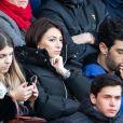 """Rachel Legrain-Trapani, enceinte, (Miss France 2007) et son compagnon Valentin Leonard dans les tribunes lors du match de Ligue 1 """"PSG - Dijon (4-0)"""" au Parc des Princes, le 29 février 2020. © Cyril Moreau/Bestimage"""
