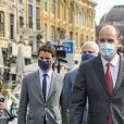Le Premier ministre Jean Castex, masqué, s'est rendu à Lille, sur le terrain pour se rendre compte de l'application du port du masque obligatoire dans certains lieux publics extérieurs. Le 3 août 2020 © Imago / Panoramic / Bestimage