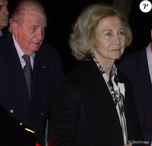Le roi Juan Carlos et la reine Sofia d'Espagne à leur arrivée aux obsèques de l'homme d'affaires mexicain Placido Arango à Madrid. Le 17 février 2020