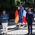 Le président français Emmanuel Macron et son épouse Brigitte Macron accueillent la chancelière allemande Angela Merkel au Fort de Brégançon, à Bormes-les-Mimosas, dans le sud-est de la France, le 20 août 2020. © Christophe Simon / Pool / Bestimage