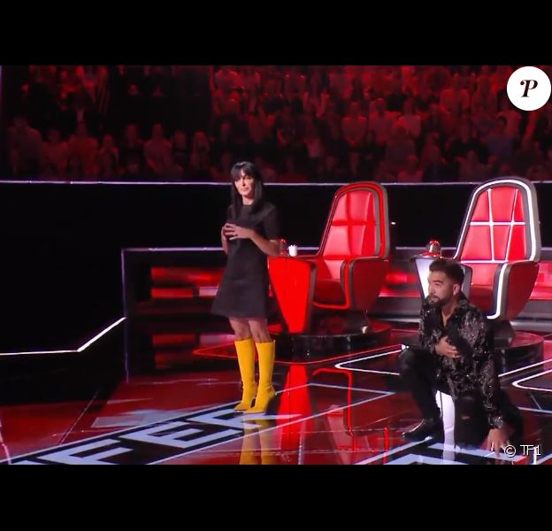 Jenifer, Patrick Fiori et Kendji Girac relèvent un défi lors de l'émission The Voice Kids 7 - TF1