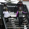 """Exclusif - Joy Hallyday, Jade Hallyday et Mathilde Balland - Laeticia Hallyday et son compagnon Pascal Balland lors d'une journée au ski à la station """"Big Sky"""" dans le Montana avec leurs filles respectives, le 16 février 2020."""