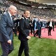 Emmanuel Macron (président de la République) et Bernard Laporte (président FFR) - Le président de la république assiste à la finale du TOP 14 en rugby entre le Stade Toulousain et l'ASM Clermont au stade de France, Saint-Denis le 15 juin 2019. T.Breton/ Panoramic / Bestimage