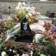 La tombe de Romy Schneider au cimetière de Boissy-sans-Avoir. Juin 1988