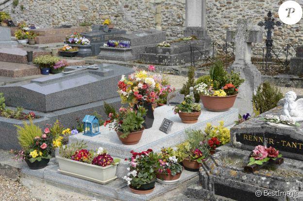La tombe de Romy Schneider à Boissy-sans-Avoir, dans les Yvelines, le 3 mai 2013.