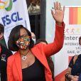 Elisabeth Moreno (ministre chargée de l'Egalité des Chances) - Inauguration du Forum de rentrée de la Fédération Sportive Gaie et Lesbienne à la Halle des Blancs Manteaux à Paris le 13 septembre 2020.