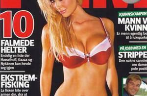 Monica Hansen : Allongée sur le sable chaud, cette blonde pulpeuse et dénudée va vous entraîner... au paradis !