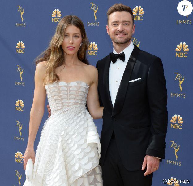 Jessica Biel et son mari Justin Timberlake au 70ème Primetime Emmy Awards au théâtre Microsoft à Los Angeles