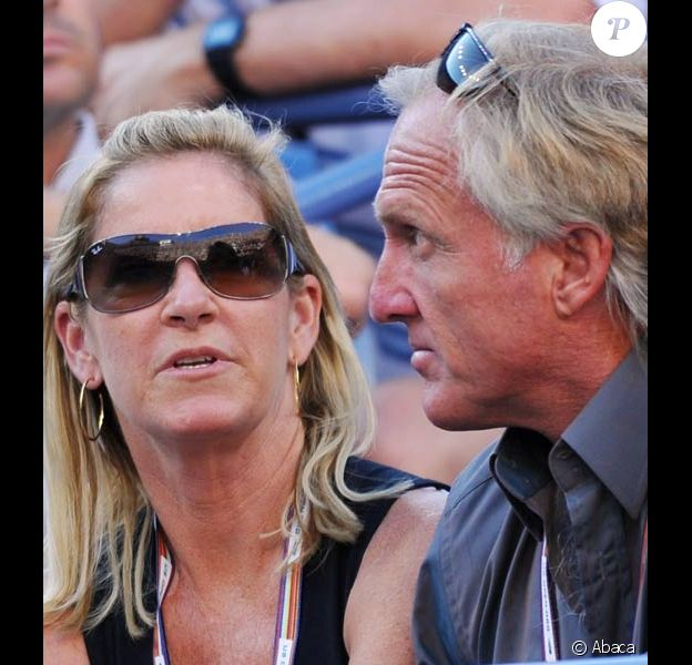 Chris Evert et Greg Norman à l'US open en septembre 2008