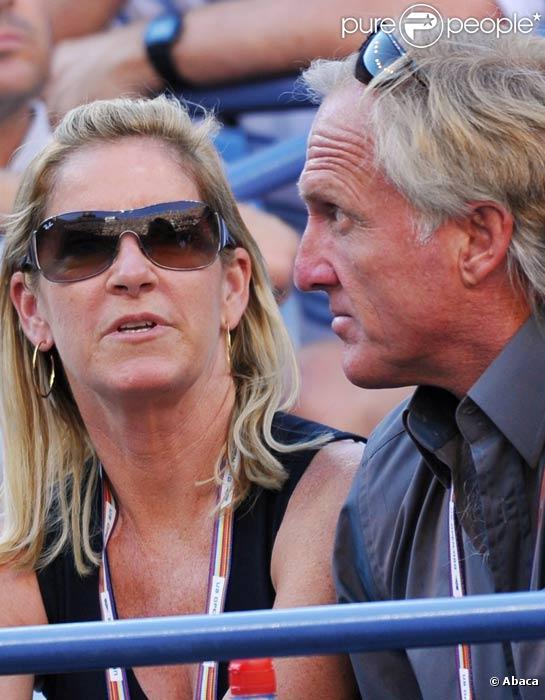 Chris Evert et Greg Norman à l'US open en septembre 2008