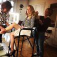 """Catherine Davydzenka qui joue Hortense dans """"Ici tout commence""""  sur un plateau de tournage, le 4 avril 2018"""