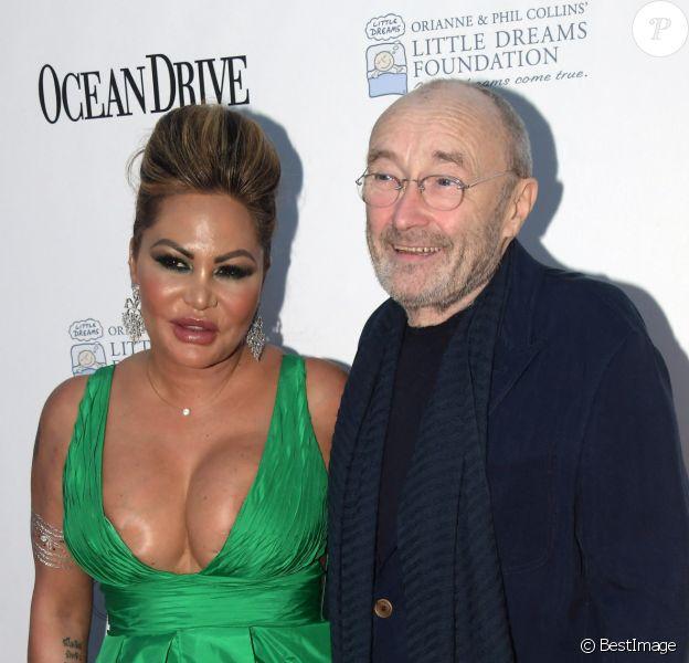 Phil Collins et sa femme Orianne au photocall du 4e gala de la fondation Little Dreams à Miami