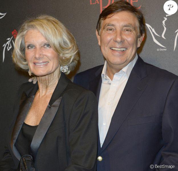"""Jean-Pierre Foucault et sa compagne Evelyne - People a la generale de la comedie musicale """"La Belle et la Bete"""" au Theatre Mogador a Paris, il y a sept ans."""