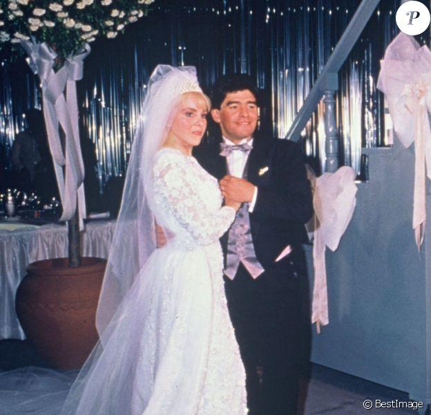 Archives- Mariage de Diego Maradona et de Claudia Villafañe à Buenos Aires (Argentine).