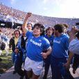 Archives - Diego Maradona lors de la victoire d'un match de football Naples vs Florence. Saison 1986/1987 © Imago / Panoramic / Bestimage