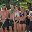 """L'équipe de l'Est (Bertrand-Kamal, Loïc, Laurent, Hadja, Alexandra et Joaquina) dans """"Koh-Lanta, Les 4 Terres"""" sur TF1 en 2020."""