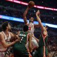 Joakim Noah lors du match de NBA opposant les Chicago Bulls aux Milwaukee Bucks. Chicago, le 20 avril 2015.