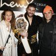 Laure Pester (Lorie), Cyril Benzaquen et Orelsan - Championnat du monde de Kick-Boxing ISKA au cirque Phénix à Paris le 12 décembre 2019. © Veeren / Bestimage