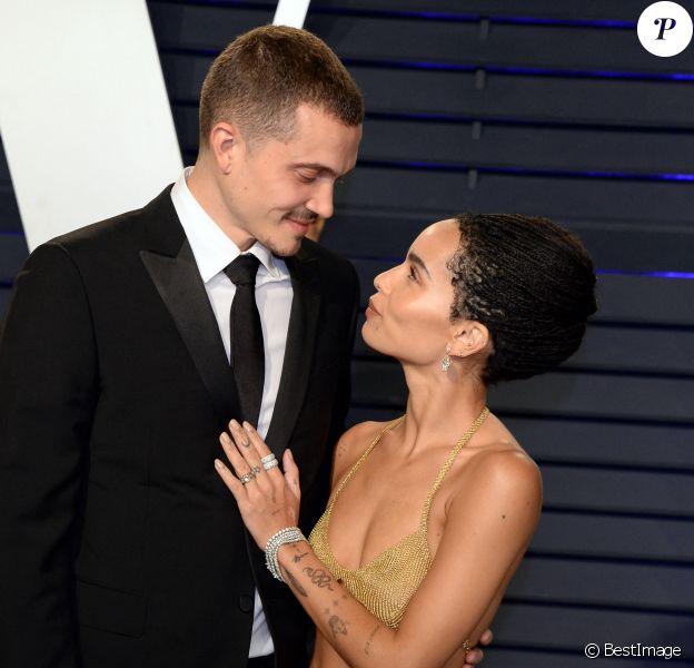 Mariage - Zoë Kravitz s'est mariée avec Karl Glusman - Zoe Kravitz et son fiancé Karl Glusman - Soirée Vanity Fair Oscar Party à Los Angeles.