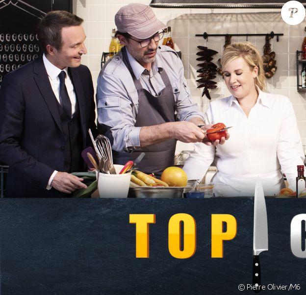 """Hélène Darroze, Philippe Etchebest, Michel Sarran et Paul Pairet dans """"Top Chef"""", émission présentée par Stéphane Rotenberg."""