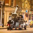 """Anne Hathaway et Chiwetel Ejiofor sur le tournage du film """"Lockdown"""" à Londres, le 20 octobre 2020."""