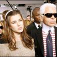 Karl Lagerfeld et Charlotte Casiraghi au défilé Chanel à Paris en 2007.