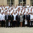 Le président de la République Emmanuel Macron et sa femme Brigitte Macron (Trogneux) reçoivent 180 chefs étoilés à déjeuner au palais de l'Elysée à Paris, le 27 septembre 2017, pour promouvoir la cuisine française. © Hamilton/Pool/Bestimage