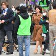 Lady Gaga et Adam Driver tournent une scène du film Gucci (House of Gucci) à Milan, le 11 mars 2021.