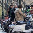 Lady Gaga et Adam Driver tournent une scène du film Gucci (House of Gucci) à Milan, le 10 mars 2021.