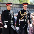 Les princes Harry et William arrivent à la chapelle St. George au château de Windsor - Mariage du prince Harry et de Meghan Markle au château de Windsor, Royaume Uni.