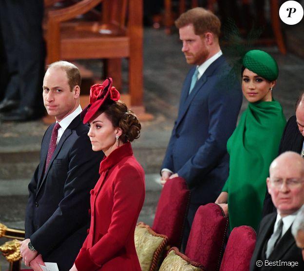 Le prince William, duc de Cambridge, et Catherine (Kate) Middleton, duchesse de Cambridge, Le prince Harry, duc de Sussex, Meghan Markle, duchesse de Sussex - La famille royale d'Angleterre lors de la cérémonie du Commonwealth en l'abbaye de Westminster à Londres le 9 mars 2020.